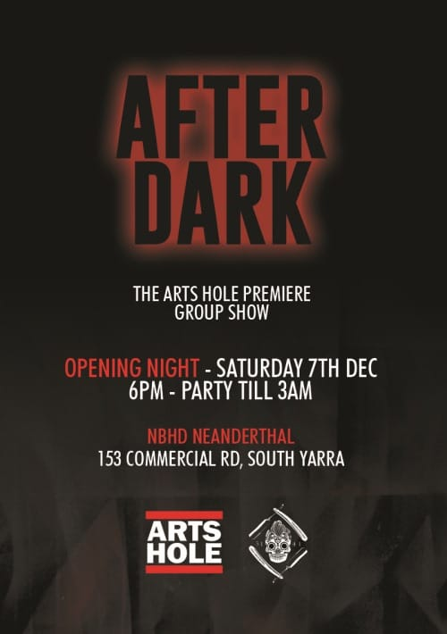 afterdark 1 thumb Exhibition After Dark Arts Hole Group Show Melbourne in tshirts street art genres stencil art genres painting genres mixed media genres melbourne illustration genres graphic design genres graffiti genres exhibitions