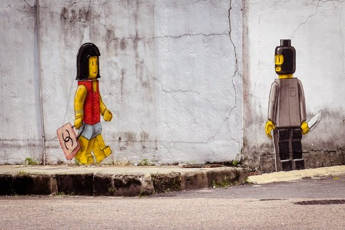 ernest lego 500x333 Exhibition Art Is Rubbish Ernest Zacharevic Penang in street art genres painting genres malaysia illustration genres exhibitions