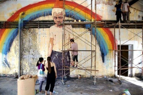 zach penang 500x332 Exhibition Art Is Rubbish Ernest Zacharevic Penang in street art genres painting genres malaysia illustration genres exhibitions