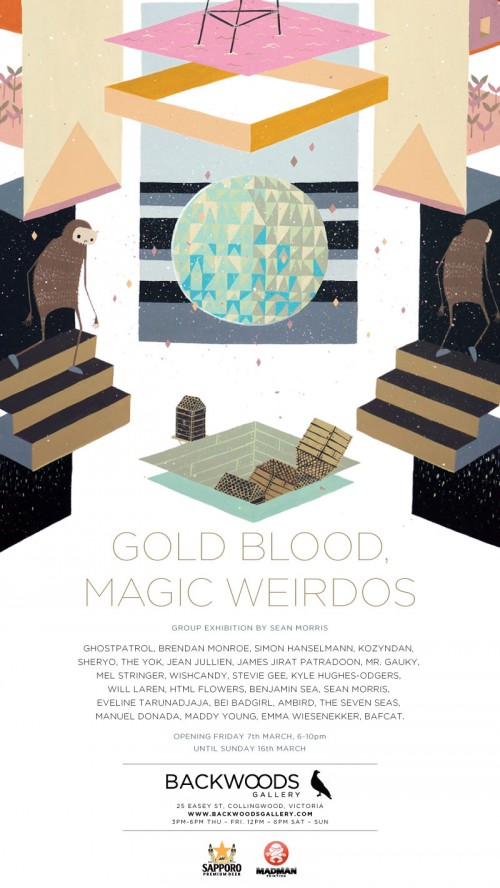 MAGIC WIERDOS EPROMO 2 500x888 Exhibition Gold Blood, Magic Weirdos Collingwood in painting genres mixed media genres melbourne illustration genres exhibitions digital genres