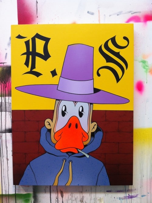 ps duckman 500x669 Exhibition DMOTE Will Lynes Nathan Pickering Full Serve Collingwood in melbourne graffiti genres exhibitions