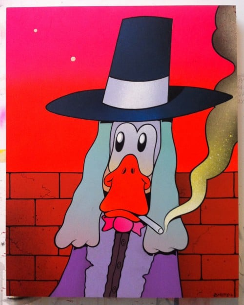 smoking duckman 500x624 Exhibition DMOTE Will Lynes Nathan Pickering Full Serve Collingwood in melbourne graffiti genres exhibitions