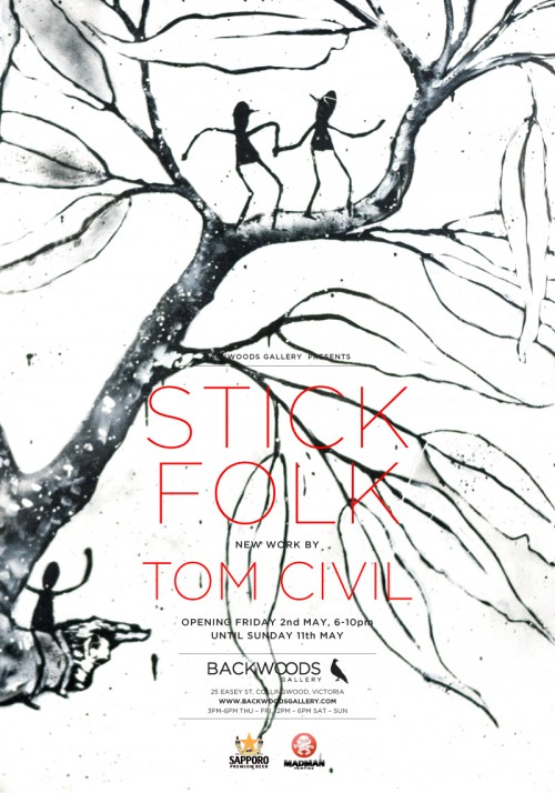 STICK FOLK by TOM CIVIL at BACKWOODS GALLERY5 500x714 Exhibition Tom Civil Stick Folk Melbourne in street art genres prints genres painting genres melbourne illustration genres exhibitions