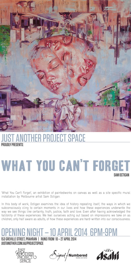 WYCF Poster thumb Exhibition & Preview Sam Octigan What You Cant Forget Melbourne in painting genres mixed media genres melbourne illustration genres exhibitions
