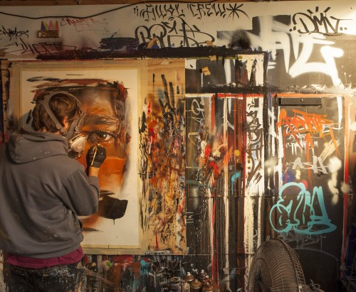 Adnate Melbourne Studio 500x411 Exhibition Adnate Beyond The Lands Metro Gallery Melbourne in painting genres melbourne exhibitions