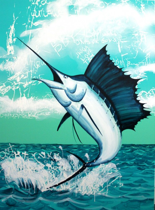J Dodd Sailfish Web 500x677 Interview DLUX James Dodd in street art genres stencil art genres painting genres mixed media genres melbourne installations genres artist interviews
