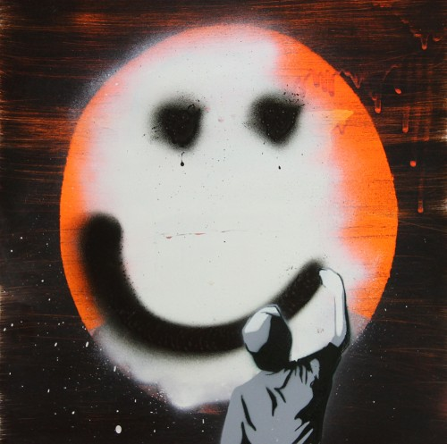 Smiley Face lo res 500x497 Interview DLUX James Dodd in street art genres stencil art genres painting genres mixed media genres melbourne installations genres artist interviews