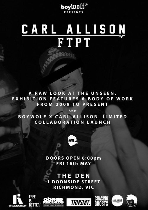 ftpt flyer sponsors 500x709 Exhibition Carl Allison FTPT Melbourne in videos images media video art previews urban art photography genres melbourne exhibitions