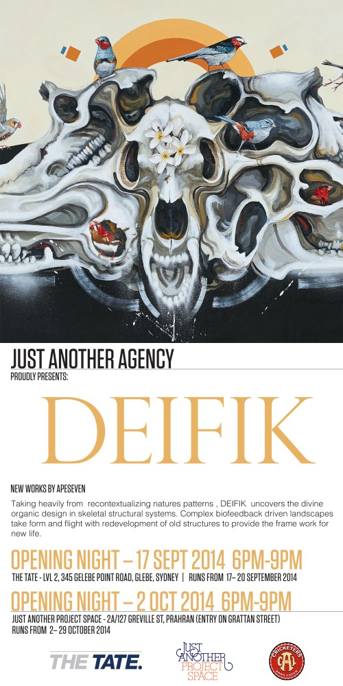 Defik Poster 500x1000 Exhibition DEIFIK APESEVEN Just Another Project Space Prahran  in exhibitions