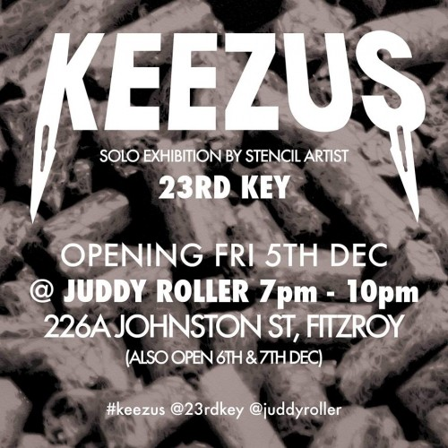 7114 10152952065187494 4678837127952107651 n 500x500 Exhibition Keezus Solo Exhibition By Stencil Artist 23RD Key At Juddy Roller Studios in street art genres stencil art genres melbourne exhibitions
